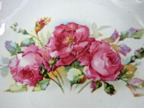 Antique Gold Trim Porcelain Pink & Yellow Roses 5 Berry Bowls Shabby Farmhouse
