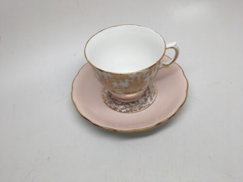 VTG Royal Vale Bone China ENGLAND Teacup & Saucer White/Pink/Gold Chintz