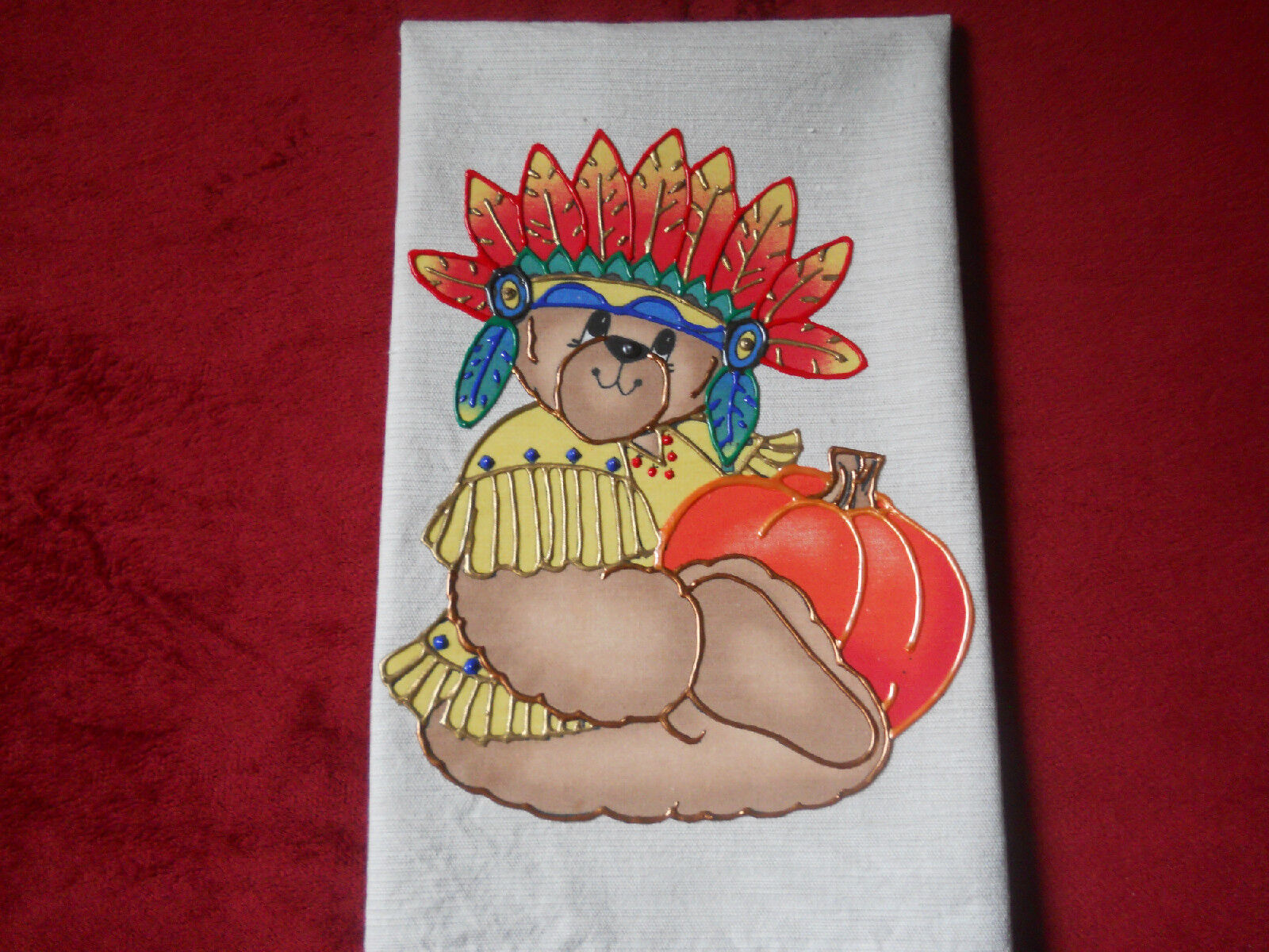 Thanksgiving or Fall Hand Towel Bathroom or Kitchen Indian B