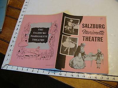 Vintage MARIONETTE Paper: SALZBURG Marionette Theatre, booklet
