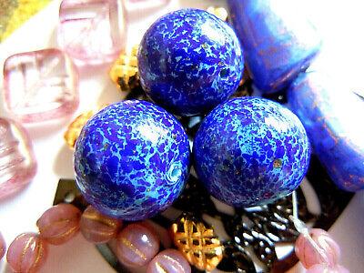 Neue Cobalt Blue Round Muranoperlen m.Glanz-Aventurinsprenkeln -16mm-