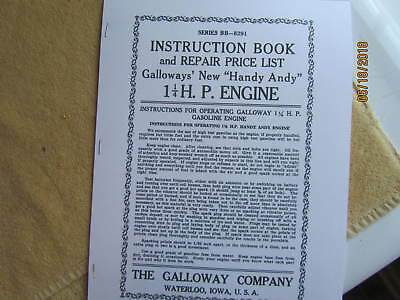 Galloways Handy Andy 1 14 Hp Hit Miss Engine Instruction Book Repair List