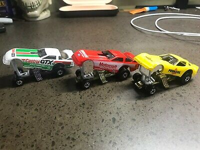 VINTAGE HOT WHEELS SET OF 3 FUNNY CARS, ALL MINT, PENNZOIL, MOTORCRAFT, CASTROL