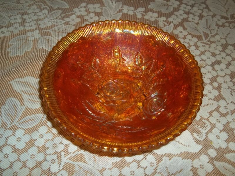 Vintage Carnival Glass Bowl With Roses
