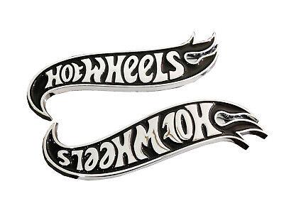 Pair Hot Wheels Fender Emblems Badge Black & Chrome For Mustang Camaro