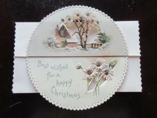 Antique Signed EMBOSSED CUT-OUT GLITTERED Christmas Card DAISIES COTTAGE ICICLES