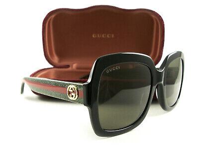 Gucci Sunglasses GG0036S 002 Black Green Brown New Authentic
