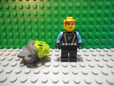 Aquaraiders II Lego X6 Black Mini Figures Crash Helmet W// Blue Trident Pattern