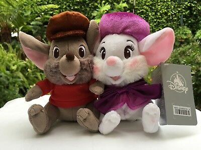 "Disney's The Rescuers Miss Bianca and Bernard Small Plush Set 6 1/2"" NWT"
