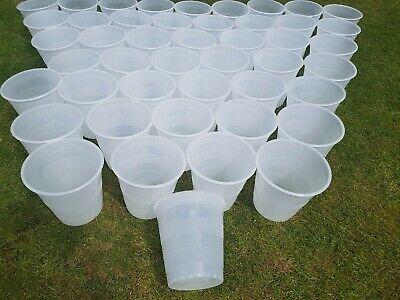 Large x10 Round White Plastic Flower Display Buckets Pots Florist Stand Bucket](Large Plastic Flower Pots)