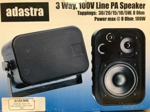ADASTRA+PAIR+OF+HIGH+PERFORMANCE+BLACK+PA+SPEAKERS+100V+LINE+30W+WITH+BRACKETS