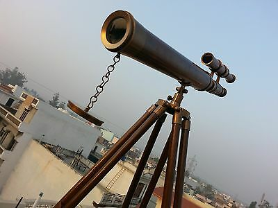 US Navy Marine Nautical Vintage Brass Telescope with Wooden Tripod Antique Gift