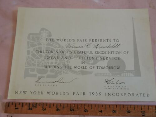 """Rare 1939 New York Worlds Fair Construction Certificate of Recognition 7.5x10"""""""