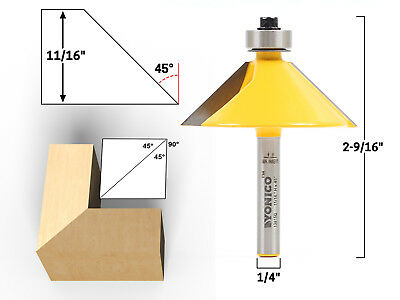 """45 Degree Chamfer Edge Forming Router Bit - 1/4"""" Shank - Yonico 13915q"""