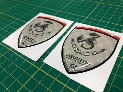 Fits Fiat 500 595 Abarth Assetto Corse 70mm x2 Wing badges Decals...