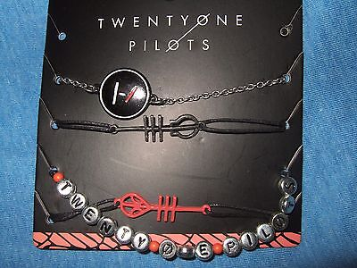 21 Twenty one pilots Music Band Symbols Logo 4 Pc Bracelet Wristband Set jewelry