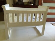 Babyhood white wooden sleigh cradle Bassinet Fern Bay Port Stephens Area Preview