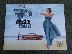 CHRYSLER ROYAL  1959/60  AP3 V8  ''RARE AUST RHD'' BROCHURE. 100% GUARANTEE.