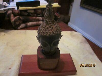 Antique South East Asian Bronze Traditional Bust, on a wooden base