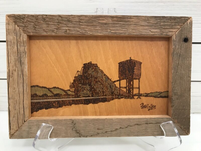 Framed Etched Wood Burning Locomotive Steam Railroad Train Water Tower