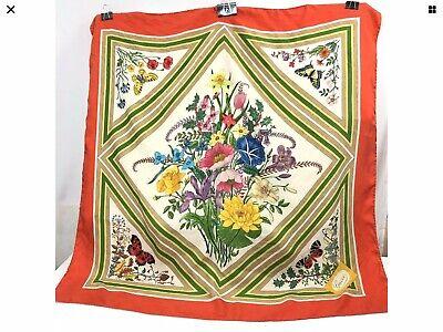 Vintage Gucci Scarf V Accornero Floral Butterfly Orange Red Trim Silk Twill