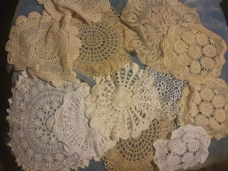 Large lot of Vintage Round Lace Crochet Doilies