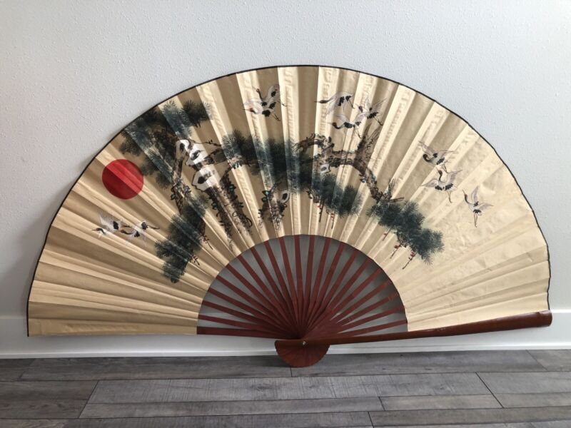 Vtg Large 6'x3' Japanese Hand Painted Cranes And Pine Trees Longevity Wall Fan