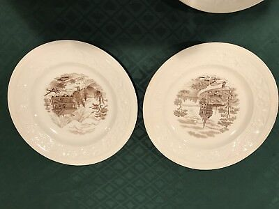 2 Rorstrand Porcelain 9 1/8 Inch Plates Sweden 🇸🇪Cabin Mountains & Church Rare