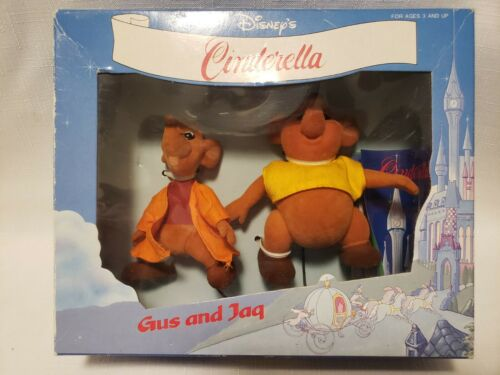 Vintage Disney Cinderella Gus And Jaq Bikin Figures Gift Set Box Flocked