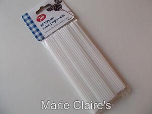50 X 6 INCH WHITE CAKE POP STICKS , HOLLOW PLASTIC, LOLLY, LOLLIPOP, CRAFT