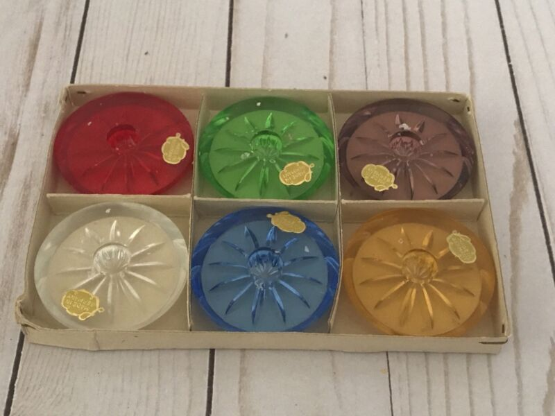 Vtg German Glass Tapered Candle holders (Set of 6) Home Decor