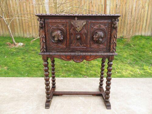 Antique SPANISH RENAISSANCE VARGUENO CABINET / DESK Carved Wood Drop Front Chest