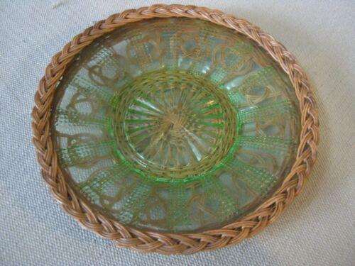 Beautiful Ornate Vintage Green Plate Incased, Wrapped in Wicker Basketry