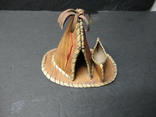 Vintage Native American Birch Bark Teepee and Canoe Souvenir of Passaic, NJ