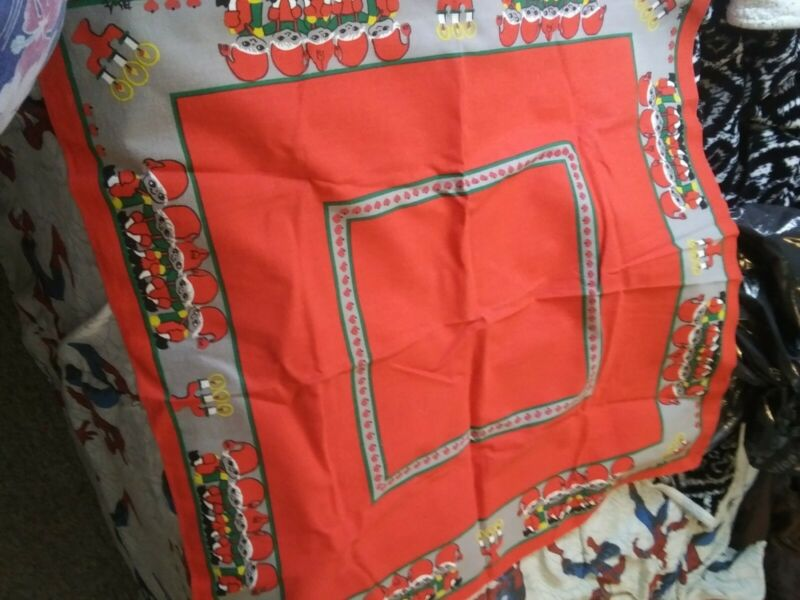 "Vintage 33"" square Christmas elves tablecloth"