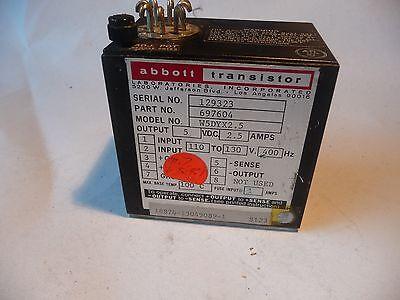 Abbott Transistor Military Power Supply W5dyx02.5 697604 110-130v 400hz 2.5 Amp