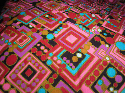 1960s Vintage MOD Cotton Fabric Mid Century Hot Pink Red Blue Cubes Dots -