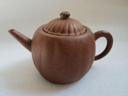 Antique 19th Century Chinese Yixing Pumpkin Shape Teapot