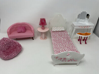 2006 Barbie Doll 3-Story Dream House Bed Bedroom Furniture Rare Lamp Lights