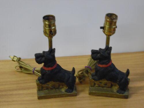 Pair of Antique Cast Iron Black Scottie Dog Scottish Terrier