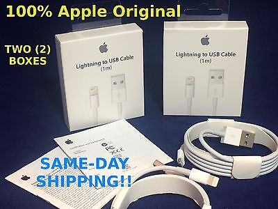 TWO 2x Genuine Original Apple Lightning USB Charger Cable iPhone 7 6s Plus 5s SE