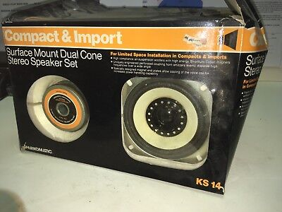 Sparkomatic  -- COMPACT & IMPORT -- Surface Mount Dual Cone Stereo Speaker Set (Dual Cone Surface Mount Speakers)