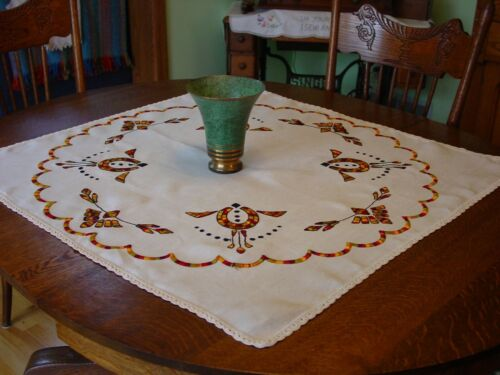 "Antique Arts & Crafts, Mission Tablecloth 35"" Bright Embroidery Great Design"