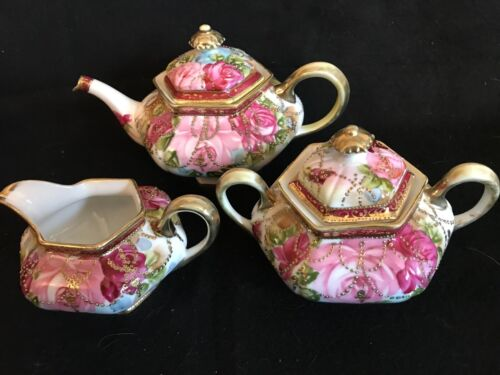 BEAUTIFUL HAND PAINTED NIPPON TEA SET, GOLD BEADED MORIAGE ON TOP OF ROSES