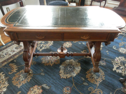 ANTIQUE AMERICAN VICTORIAN RENAISSANCE REVIVAL WALNUT PARTNERS DESK CA 1860-1880