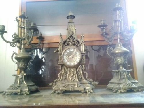 Antique Replica Brass Ornate Mantle Clock with Candelabra Gargoyles set