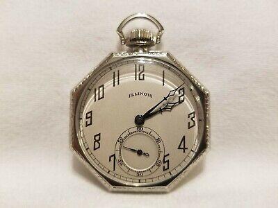 Vintage 1923 Illinois Pocket Watch- 12s, Octagon, Ornate Elk, Solid 14K w/ Chain