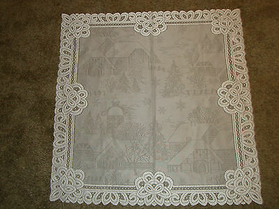 White Christmas Lace Battenburg design Table Topper 30 x 30
