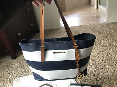 Michael Kors Handbag And Wristlet Navy Stripes
