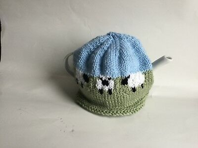 knit tea cosy field of sheep design hand knitted